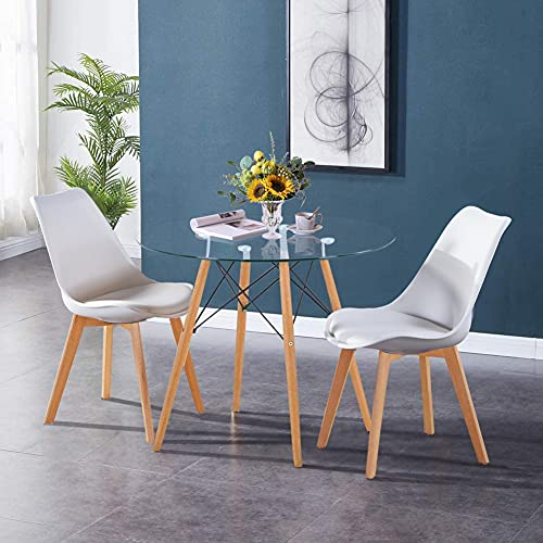 GOLDFAN Glass Dining Table and 2 Chairs Kitchen Table Dining Chairs Round Table and Soft Padded Leather Chairs 80cm, White