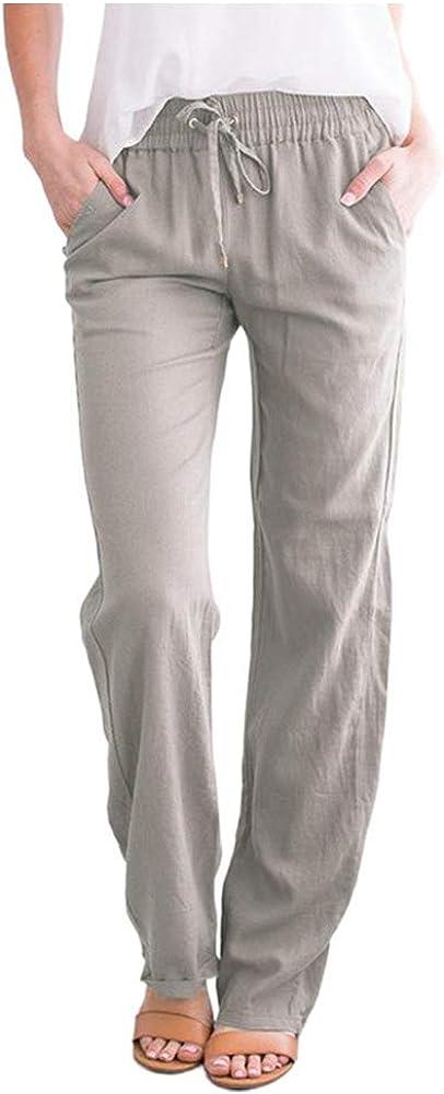 SCOFEEL Women's Cotton Linen Pants Drawstring Elastic Waist Side Pockets high Rise Casual Loose Trousers Pants