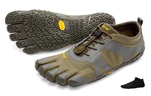 Zapatos con dedos FiveFingers V-Alpha de Vibram para hombre; con calcetines con dedos; para senderismo y otras actividades, Military/Darkgrey, 40