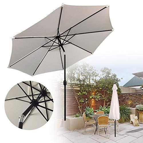 LZQ Sonnenschirm, Ø 300 cm, Marktschirm mit Kurbel, UV-Schutz UPF 40+, Gartenschirm, Terrassenschirm, Sonnenschutz, ohne Ständer, Outdoor, für Garten, Balkon, Terrasse, Beige