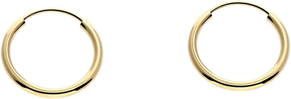 14k Gold Round Flexible Thin Continuous Endless Hoop Earrings, Unisex