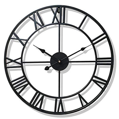 QUVIO Industrieel klassiek stalen wandklok/Romeinse cijfers/Klok/Muurklok/Diameter van 45cm / Moderne klok - Zwart