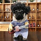 Kuai Disfraz De Guitarrista para Mascotas, Fiesta De Cosplay De Navidad De Halloween, Divertido Estilo De Guitarrista, Ropa para Perros Y Gatos,L