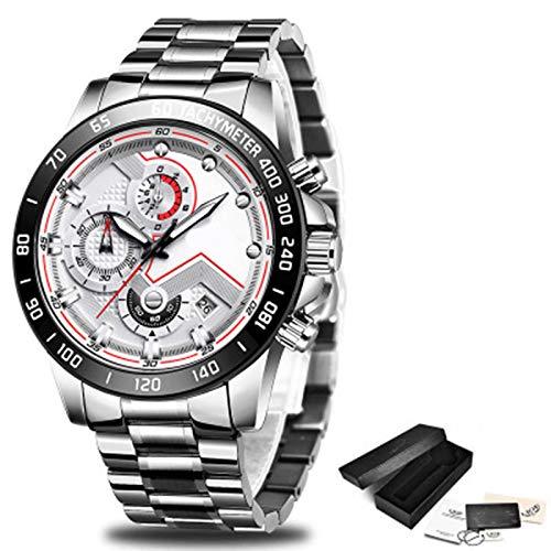 ZTT Herrenuhren Luxuxedelstahl Blaue wasserdichte Quarz-Uhr-Mann-Mode-Chronograph Male Sport Military Watch,G