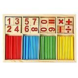 healthwen Números de Madera para niños Palo de Aprendizaje Matemáticas Aprendizaje temprano Contando Juguetes educativos Niños Regalos para niños