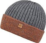 CHILLOUTS Felino Kid Hat Kinder Beanie Mütze Orange/Grau reflektierende Wintermütze mit Fleece