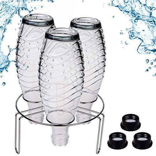 Premium Abtropfhalter aus Edelstahl für z.B Soda Stream Crystal, Easy, Fuse, Emil UVM. inkl. Flaschenbürste Abtropfständer Abtropfgestell für 4 Flaschen