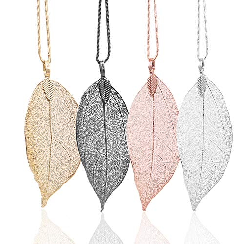 4 Color Styles Natural Real Leaf Filigree Pendant Necklaces for Women Long Pendant Necklace Trendy Clothes Accessories Jewelry