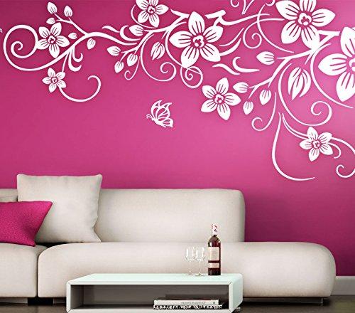 Wandora Wandtattoo Blumenranke mit Schmetterlingen I weiß (BxH) 58 x 29 cm I Wohnzimmer Hibiskus Blumen Sticker Aufkleber Wandaufkleber Wandsticker G011