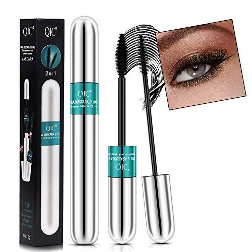 4D Silk Fiber Lash Mascara 2 in 1 Fiber Eyelash Mascara Waterproof and Smudge-Proof Lengthening Mascara for Long Thick and Voluminous Eyelashes (Black)