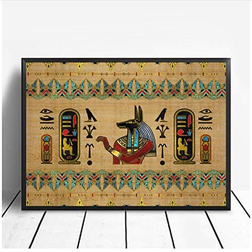 MULMF Abstrakte Ornamente Auf Papyrus Ägypten Göttin Auge Kunst Poster Kunst Leinwand Poster Wandbild Für Wohnzimmer- 50X75Cm Ohne Rahmen