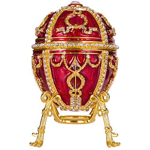 uovo russo in stile Fabergé / portagioie Bocciolo di rosa con fiore e ciondolo 9,5 cm rosso
