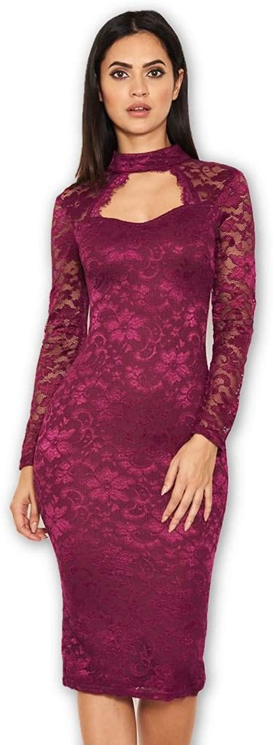 AX Paris Women's Lace Midi Dress with Long Sleeves