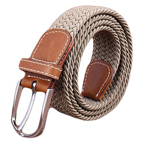 Multicolored Braided Belts Casual Elastic Belt Golf Casual Belt for Men Women Junior? (Beige)