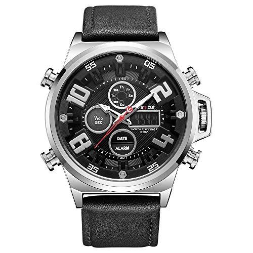 WH7309 Reloj electrónico digital de cuarzo Hora dual Fecha Semana Cronómetro de alarma 3ATM Temporizador impermeable Hombres de negocios Moda Casual Deportes al aire libre Reloj de pulsera masculino