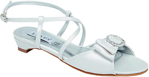 Ladies Lexus Bridal Low Heel Sandal with Textile Bow, Diamante Trim and Cross-Over Straps in Ivory.