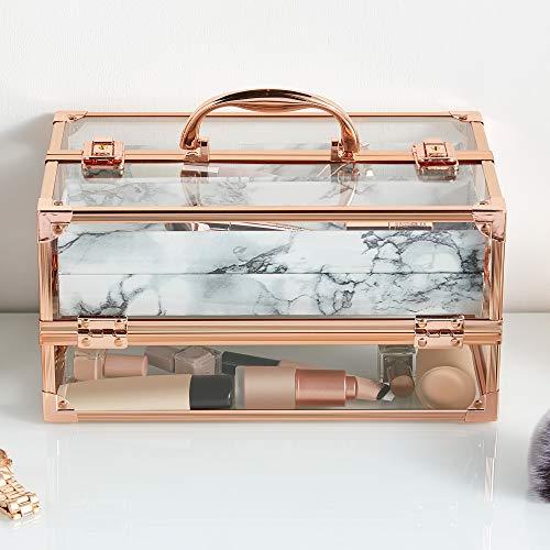 Beautify Große Kosmetikkoffer Professionelle verschließbare Acryl Beauty Case Make Up-Aufbewahrungsbox mit Roségold-Rahmen & Marmoreffekt-Innenraum (Marmor)