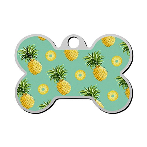 GcTck Personalized Double Sided Print Pineapple Dog Tags Pet ID Tag,Customizable Information Pet Badge for Dogs Cats