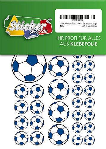 Lote de 114 pegatinas de fútbol de 15 a 50 mm, color blanco y azul, de PVC, autoadhesivas, para la Copa del Mundo de la Bundesliga
