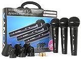 Vonyx XLR VX1800S Set 3 x Microfono dinamico XLR da Studio, Canto, Palco, Dj Set e morsetti (filtro pop integrato, Scocca in metallo, Custodia)