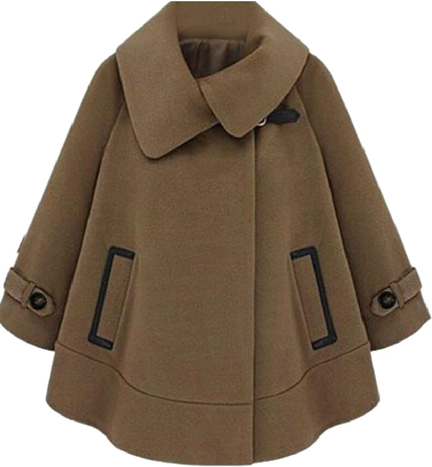 LEISHOP Womens Overcoat Elegant Long Sleeve Loose Cape Cloak Pea Coat