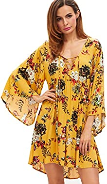 Milumia Womens Floral Print Front Cross Deep V-Neck Flare Sleeve Loose Short Mini Dress