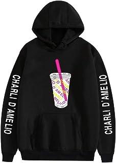 huacaiyu Charli D'Amelio Felpa con Cappuccio Unisex Hip-Hop Hoodie Miscela di Cotone Sweatshirt per Donna Uomo XXS-4XL