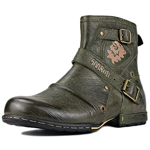 OSSTONE Botas para Moto Botines Hombre de Invierno Piel Zapatos Negras Vestir Nieve Piel Forradas Calientes Planas Combate Militares Cremallera Boots OS-5008-1-AS-8-R