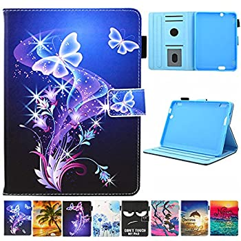 Folio Case for Fire HDX 7 2013 Only - JZCreater Leather Standing Protective Cover with Auto Sleep/Wake for Amazon Kindle Fire HDX 7.0 Inch 3rd Generation 2013 Tablet Old Model Purple Butterfly
