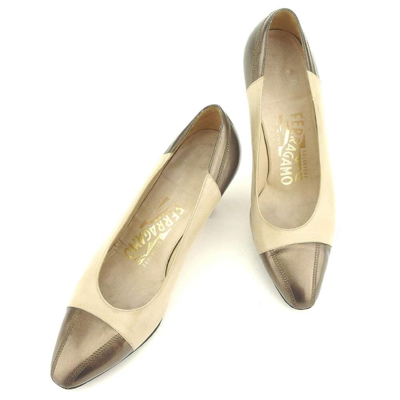 ナサニエル区意味する潜在的な[サルヴァトーレ フェラガモ] パンプス シューズ 靴 ベージュ ブラウン バイカラー レディース H629