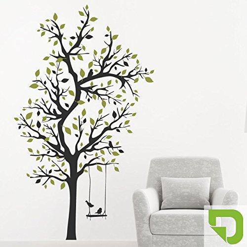 DESIGNSCAPE® Wandtattoo Verzweigter Baum | XXL Baum mit Schaukel | Deko Laubbaum 113 x 200 cm (Breite x Höhe) Farbe 1: lindgrün DW804161-L-F16