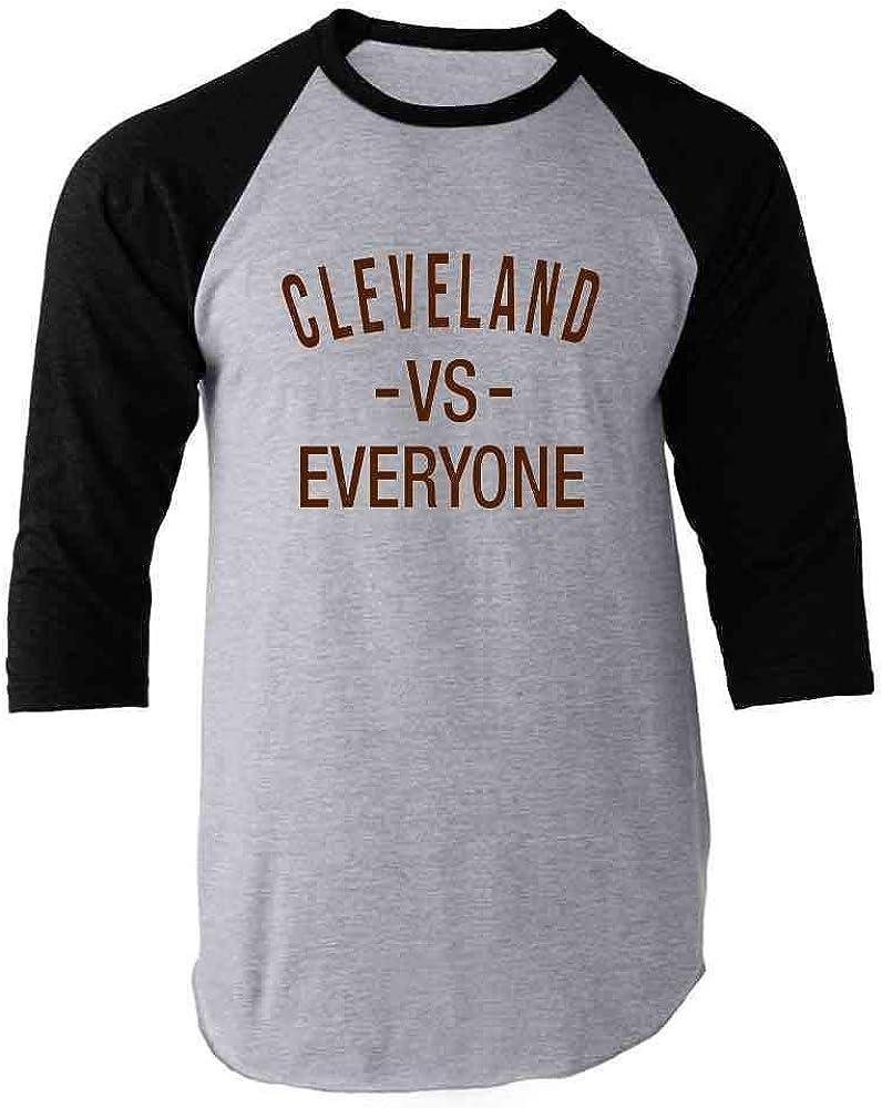 Pop Threads Cleveland vs Everyone Ohio Sports Fan Raglan Baseball Tee Shirt