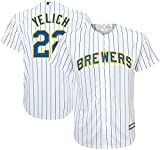 OuterStuff Christian Yelich Milwaukee Brewers MLB Majestic Youth 8-20 White Alternate Cool Base Replica Jersey (Youth Large 14-16)