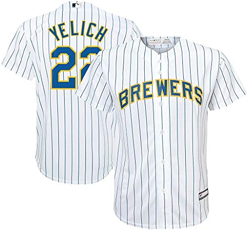 OuterStuff Christian Yelich Milwaukee Brewers MLB Majestic Youth 8-20 White Alternate Cool Base Replica Jersey (Youth Medium 10-12)