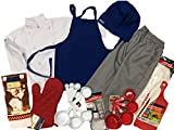 CHEFSKIN Children Professional Chef Outfit, not a Toy, Real Uniform, Chef Jacket Apron Hat Pants Mitts Towel Utensils Great Gift! (Teen (ADU XS 40 in. Chest)) White