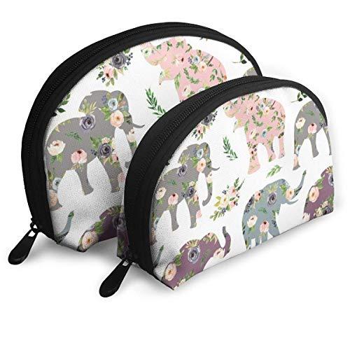 Floral Patchwork Elefante Shell Forma Bolsas Port&aacutetico Unisex Viaje Almacenamiento Bolsa multifunción niño Monedero Llavero Bolso 2 Piezas