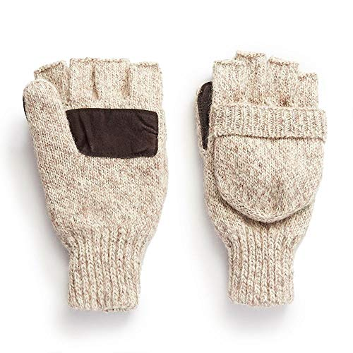 Hot Shot Ragg Wool Pop Top Fingerless Glove, Oatmeal