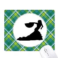 ファンダンスパフォーマンスダンサー 緑の格子のピクセルゴムのマウスパッド