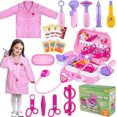 TEPSMIGO Toy Doctor Kit for Girls, 22 Piece Kids Pretend Play Toys Nurse Costume Dentist Medical Role Play Educational Toy Doctor Playset for Girls Ages 3 4 5 6 7 Year Old