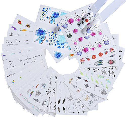Gwolf Nagelsticker Selbstklebend, Nagelaufkleber Selbstklebend Blumen, Nail Art Sticker Nagel Wasserzeichen Decals Set Blume Nail Sticker Dekorationen für Kinder Mädchen (40 Blatt)