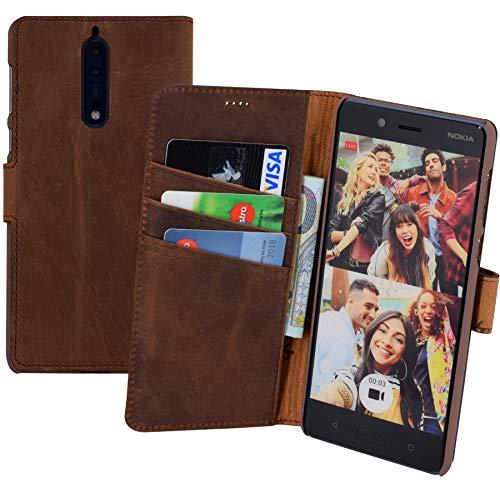 Suncase Book-Style (Slim-Fit) für Nokia 8 Ledertasche Leder Tasche Handytasche Schutzhülle Case Hülle (mit Standfunktion und Kartenfach) antik Coffee