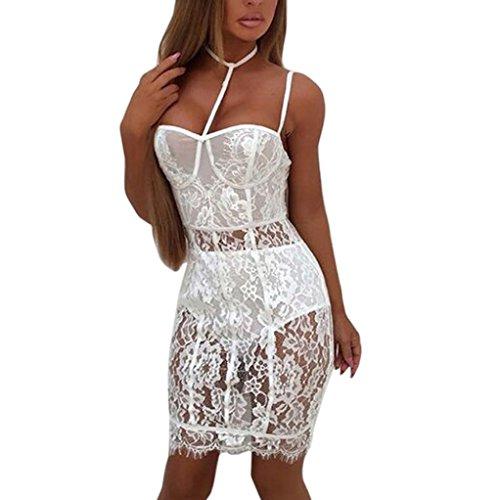 Mode Damen Kleid Rosennie Frauen Sexy Lace Blumen Schulter Transparent Perspektive Versuchung Mini Bodycon Tiefen V-Ausschnitt Slim-Paket Hüfte...