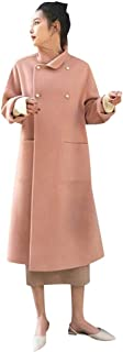 ✷ HebeTop ✷ Women Lapel Double Breasted Wool Overcoat Long Swing Coat Jacket