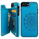 Vaburs iPhone 7 PlusiPhone 8 PlusCase Wallet with Card Holder, Embossed Mandala PatternFlower Premium PU Leather Double Magnetic Buttons Flip Shockproof Protective Case(Blue)