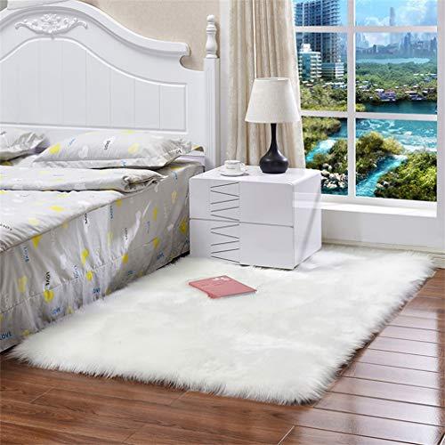 BBXW Weich Flauschig Schlafzimmer Teppich,Fellimitat Weiß Teppiche,Maschinenwaschbar Carpet Für Kinderzimmer,Wohnzimmer Startseite Ornament Fußmatten