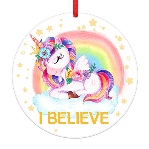 PETCEE Unicorn Christmas Ornaments 2020 I Believe Christmas Tree Ornaments,Colorful Rainbow Unicorn Christmas Hanging Ornaments Decorations for Girls Women Friends