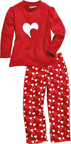 Playshoes Schlafanzug Single-Jersey Herzen Deux pièces Pyjama, Rouge (Original 900), (Taille Fabricant: 80) Fille