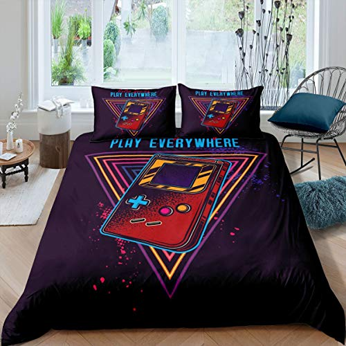 Loussiesd Video Game Gamepad Duvet Cover Retro Gamer Comforter Cover Console Action Buttons Bedding Set For Kids Adults Game Controller Bedspread Cover Colorful Ultra Soft Double Size Bedclothes