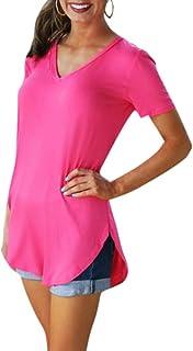 Romacci Women's Short Sleeve T-Shirt Solid Color V N