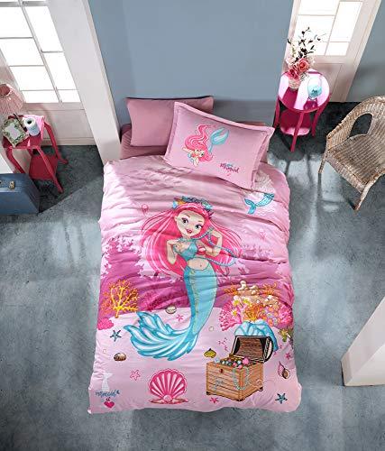 ZIRVEHOME MEERJUNGFRAU Mädchen Bettwäsche 135x200 cm, Pink, 3 teilig Set, 100% Baumwolle, Mit Reißverschluss, Mermaid, Seemädchen